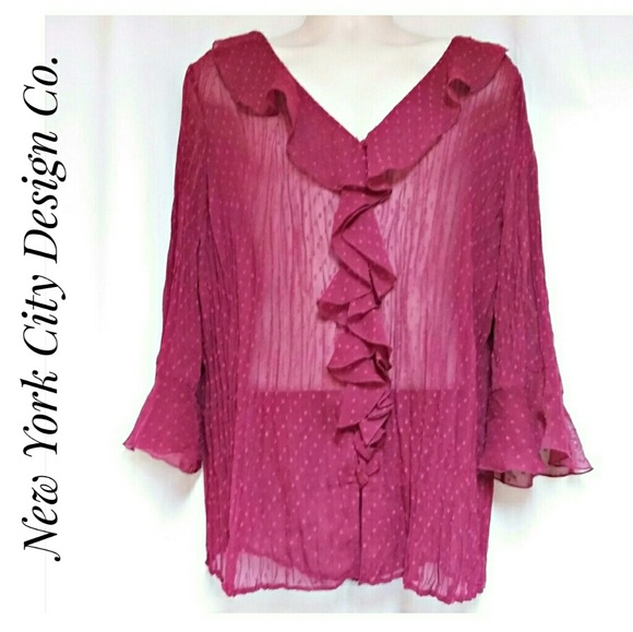 New York City Design Co Tops - New York City Design Co Fuchsia Ruffle Top 2X